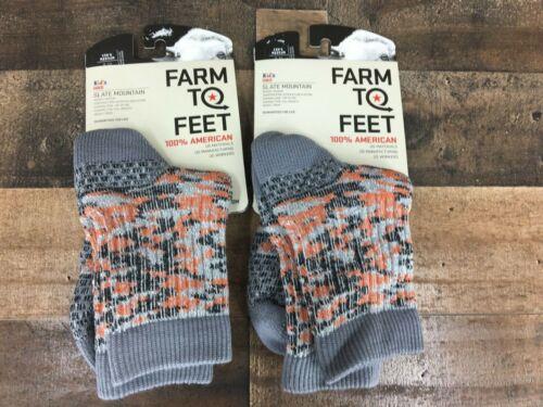New 2 Pair Farm to Feet 100% American Slate Mountain Kids Hike Merino Wool sock