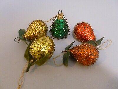 5 Vintage Beaded Sequin Jewel Fruit Christmas Ornament Pear Lime Pomegranates  ()