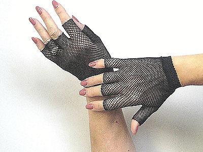 Music Legs 401 Women Gloves Fingerless Wrist Warmers Fishnet Steampunk Reg Black - Fishnet Gloves Fingerless