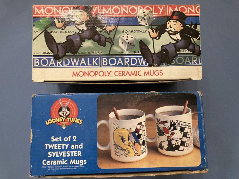 Vintage Looney Tunes Monopoly Coffee Tea Mug Sets Warner Bros Hasbro NIB 4 Total