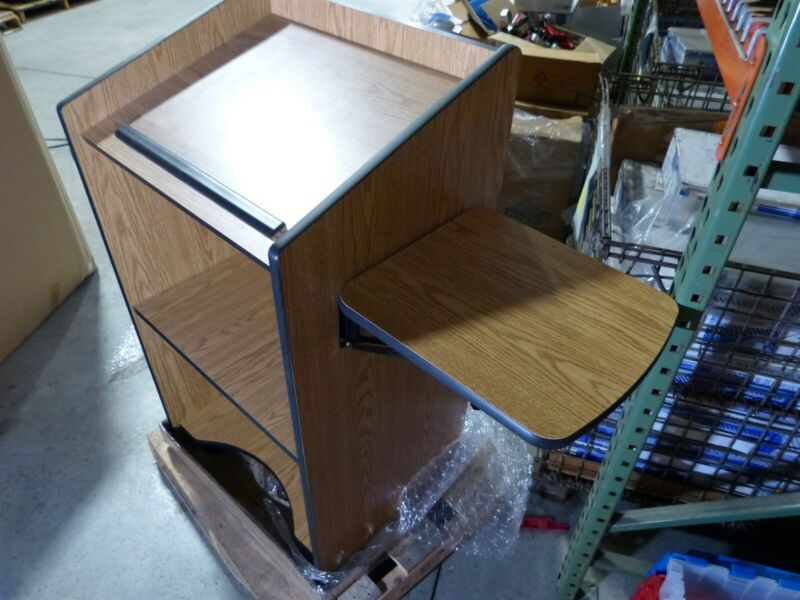 "AVF Mobile Lectern 46"" High 25"" Wide, Flip up side table."