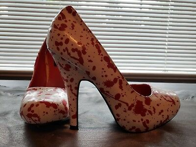 Spirit Halloween White Blood Splatter High Heel Shoes](Blood Splatter Shoes)