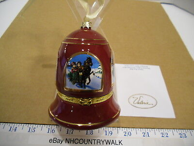 Mr. Christmas Valerie Parr Hill Musical Handcrafted Maroon Bell Ornament - NOS
