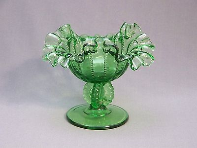 Dugas glass green beaded panels ruffled footed compote made for L.G. Wright
