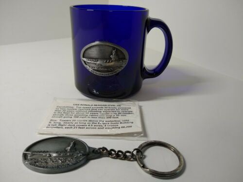USS Ronald Reagan Cobalt Blue Glass Coffee Mug Cup Pewter Ship & Pewter keychain