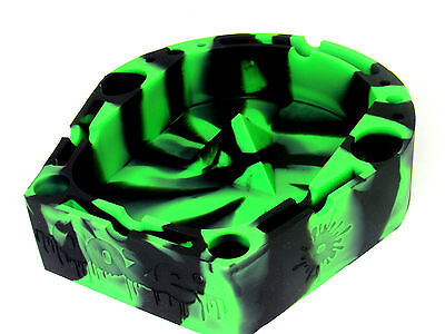 Ooze Premium Silicone Banger Ashtray Tool Holder 6 X 6 Round Black Green NEW