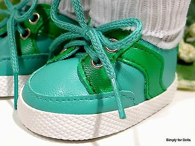 Vinyl Doll Shoes (TURQUOISE & GREEN Vinyl DOLL SNEAKERS SHOES fits 18