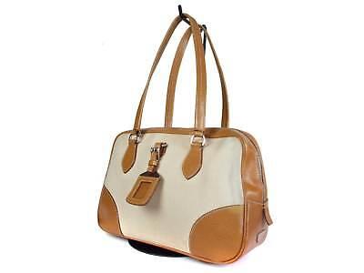 PRADA Canvas Leather Browns Shoulder Bag PS16002L