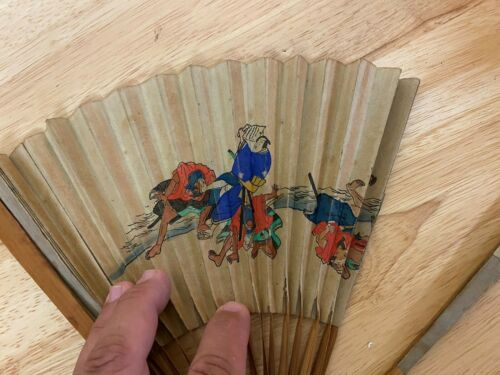 VINTAGE ASIAN CHINESE FAN WITH BEAUTIFUL COLOR ART IMAGERY LOOK!