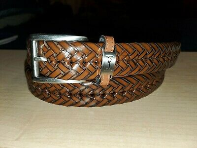 Great Looking Brand New PGA TOUR Braided Brown Leather Belt Size 42 Brown Braided Belt