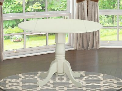 "Dublin Drop-leaf 42"" Round Pedestal Kitchen Dining Table  Off White DLT-WHI-TP"