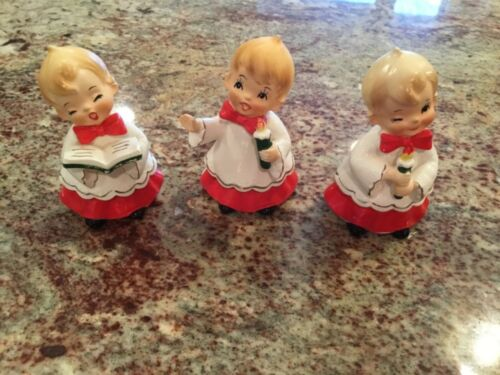 3 Vintage Made in Japan Christmas Choir & Candle kids with Red/ White& Gold