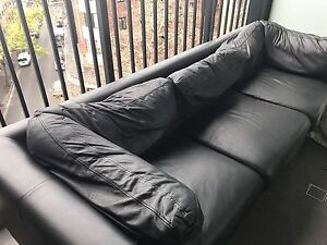3 seater black leather couch Kings Cross Inner Sydney Preview