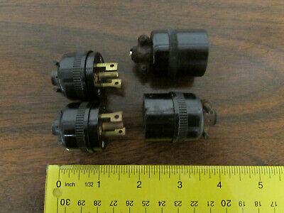 4 Vintage Hubbell Twist-lock Brown Nylonbakelite Sockets Plugs