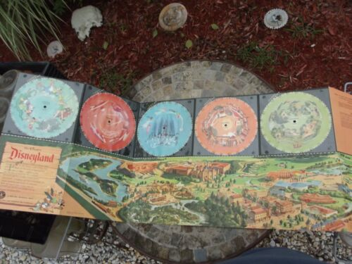 1955 MATTEL TRIP TO DISNEYLAND MUSICAL PANORAMA MAP, 5 UNUSED SEALED 78 RECORDS!