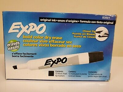 Expo 83001 Original Dry Erase Markers Chisel Tip Black12-count New