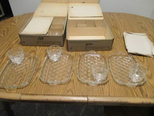 THE FEDERAL GLASS COMPANY YORKTOWN SNACK SET TWO SETS IN ORIGINAL BOXES