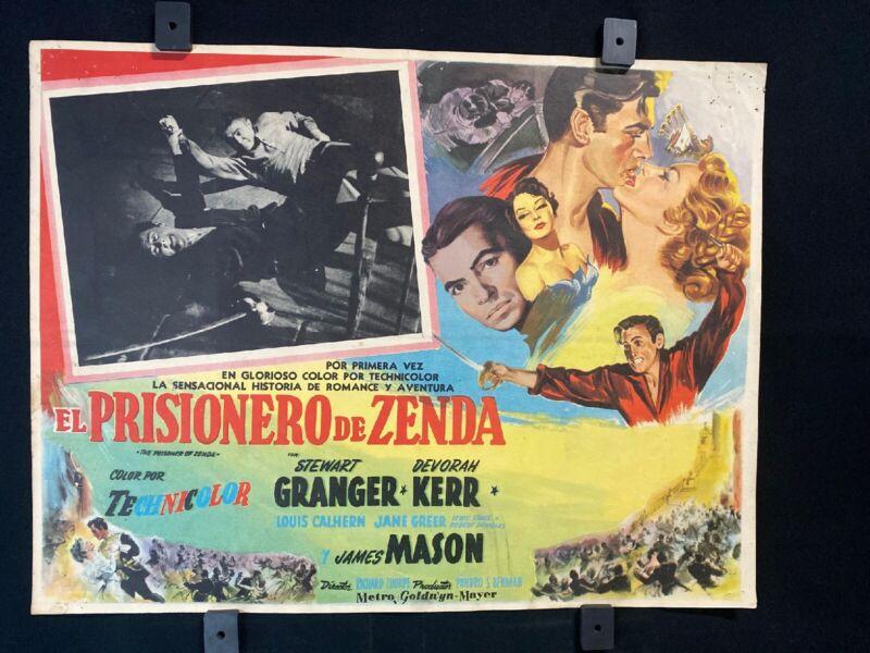 1952 THE PRISONER OF ZENDA Stewart Granger Original Mexican Lobby Card 16x12