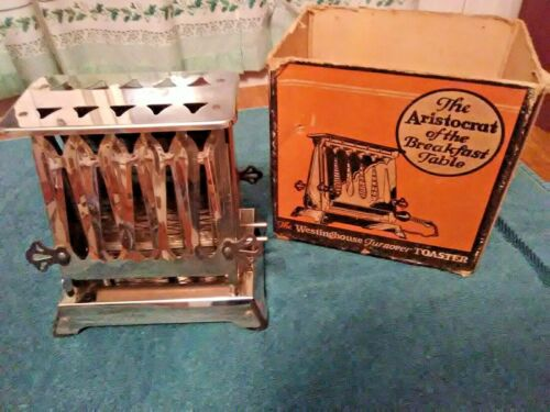 Rare Antique TT3 Westinghouse Turnover Toaster 1928 Bill Of Sale In Box No Plug