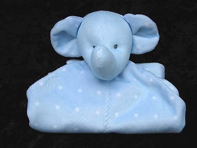 Carters Child of Mine Blue Elephant White Stars Lovey Security Blanket Rattle