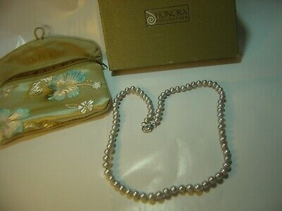"""SUPERB-18"""" QUALITY """"HONORA """" GENUINE SILVERY PEARLS NECKLACE- SILVER CLASP"""