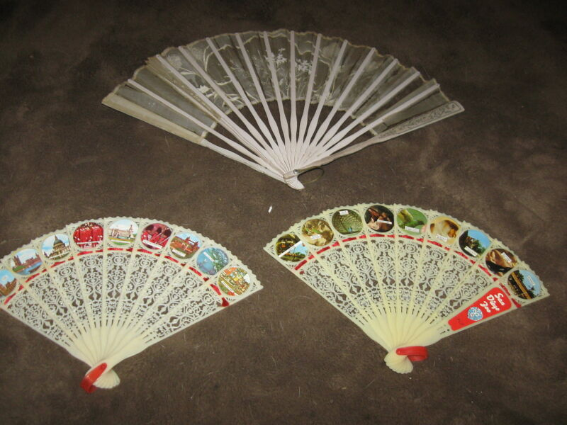 3 Fabulous Vintage Hand Fans - 1 Silk & Wood & 2 Plastic England & San Diego Zoo