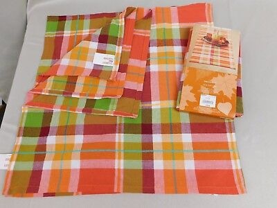 Fall Tableware - Plaid Print 54-Inch Table Runner & Four Napkins Lot #5673 - Fall Tableware
