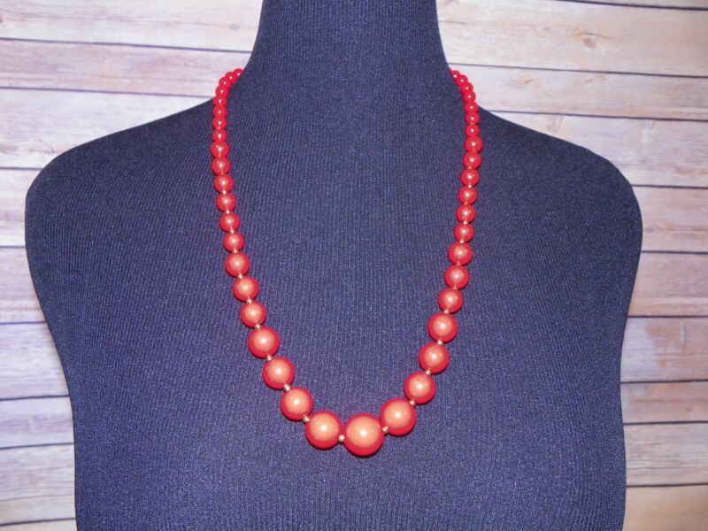 Vintage Red Strand Graduated Beaded Long Necklace Gold Tone