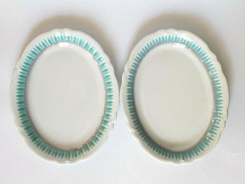 "Vintage Shenango China Blue/Green Geometric 11"" Oval Set of 2 Serving Platters"