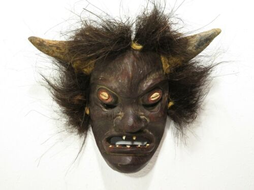 VTG Carved Wood AFRICAN TRIBAL MASK; REAL TEETH HORNS HAIR Shaman Ceremony Art