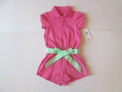 Ralph Lauren baby Girl Belted pink Polo Romper Outfit 9 Months