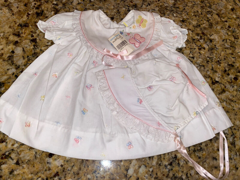 Vintage NOS Baby Togs Girls Embroidered Dress Sz 3-6 Months With Matching Bonnet