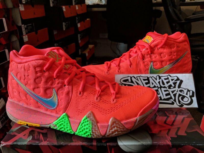 74a7fb903aa6 Nike Kyrie 4 IV Lucky Charms Bright Crimson Multi-Color Cereal Pack BV0428- 600