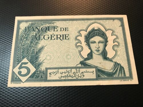 1942 ALGERIA 5 FRANCS  NICE UNCIRCULATED NOTE