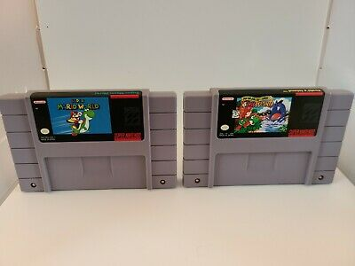 Super Mario World 1 and Super Mario World 2: Yoshi's Island SNES Authentic