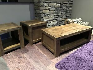 Rustic Wood Coffee Table and Matching End Tables (NEW)