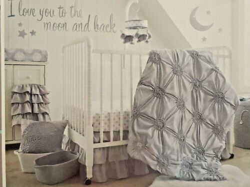 New Levtex Baby Willow 5pc Crib Bedding Nursery Set Gray Pintuck Ruched Rosette