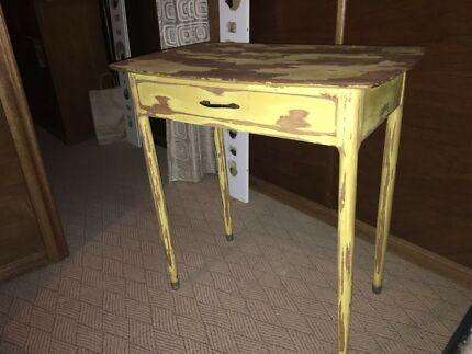 Side table yellow/wood refurbished