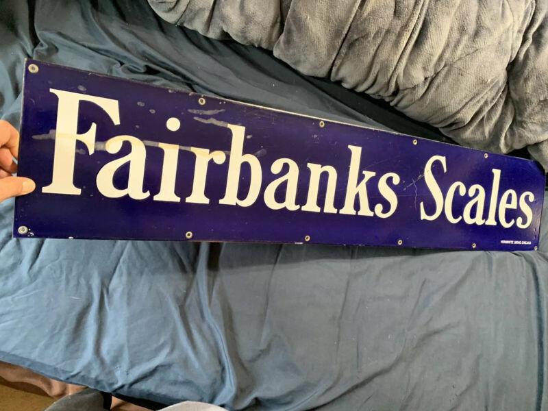 """Vintage Porcelain Mercantile Store Original Blue Fairbanks Scales Sign 45"""" X 9"""""""