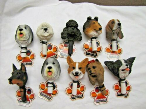 TEN NEW Detailed Puppy Dog Bust Heads ART DOOGIES Bottle Stopper Finial Emblems