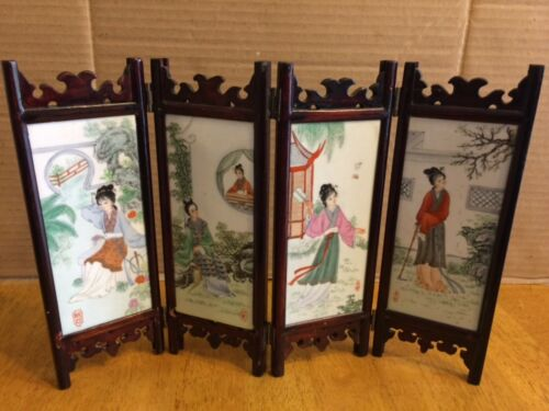 Antique  chinese famille rose  porcelain 4 panel set table screen