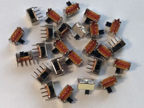 25 Pcs On/Off SPDT Right Angle Mini Slide Switch SK12D07VG3 1P2T 3-pin 2mm Pitch