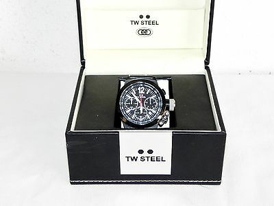 NEW MENS TW Steel CE1033R CEO Canteen Chronograph Black Dial Leather Band