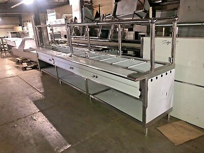 159 13 3 Stainless Steel Steam Table 12 Pans Nat Lp Gas Chrome Sneeze Guard