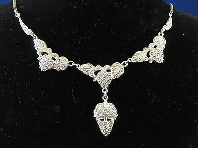 1930s Art Deco Style Jewelry 1930's 40's Necklace Grape Design, Sterling Marcasite by THEDA  (836) $70.00 AT vintagedancer.com