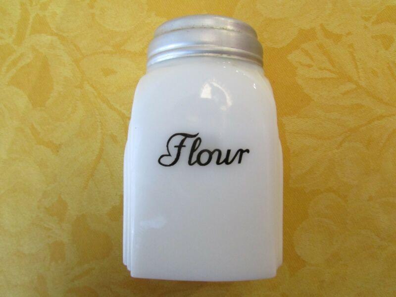 McKee Roman Arches Flour Shaker White Milk Glass Vintage Kitchen Depression Era