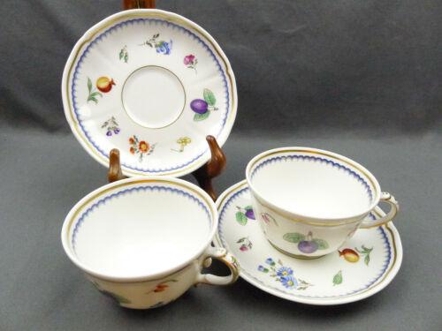 2 x Richard Ginori Italian Fruits Fine China Porcelain Flat Cup and Saucer Set