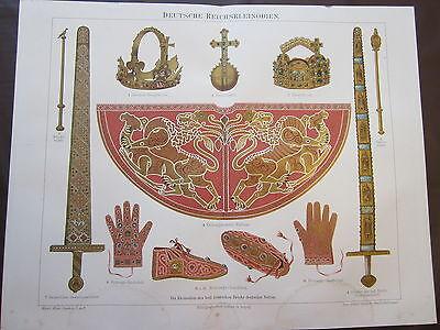 GERMAN REICH 1800'S GERMAN CHROMOLITHOGRAPH-GERMANY-CROWN-SWORD-KING-LEADER