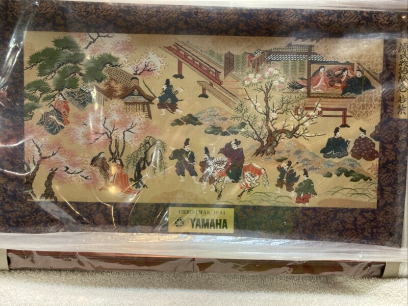 """Genji Wakamurasaki Scene Gold Silk Thread Framed Yamaha Christmas 1994 18.5"""""""