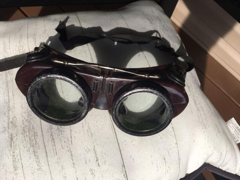 Mid Century Bakelite Welding Goggles, Vintage, Steampunk Great Condition